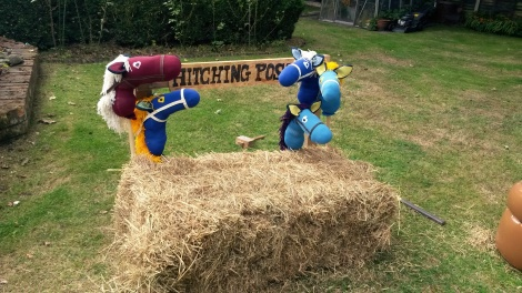 The hitching post and the hobby horses made for the nieces, nephews and friends' children