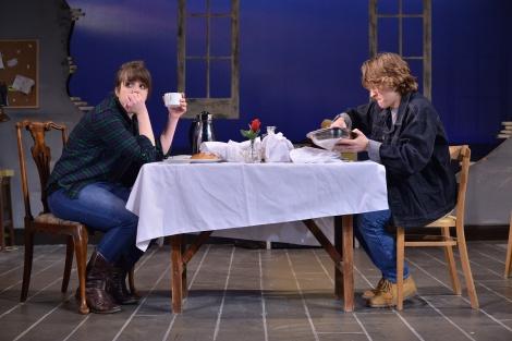 Kyra (Sophie Pierce) has breakfast with Edward (Aedan Day)